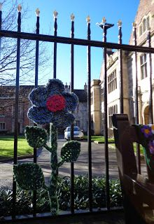 Knitted Flower Yarnbomb (became a large potted plant later)