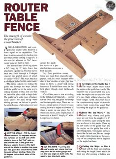 """Precision fence using wooden V-shaped saddle ways; integrated ruler and etched crosshair allows 1/64"""" adjustability. DIY version of overpriced Incra junk."""
