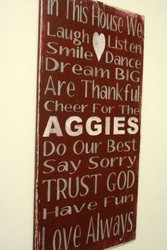 Family Rules Sign Texas AM Aggies Sports Team Sign Mancave Sign Rustic Distressed Wood Handpainted Wood Sign Primitive Wood Sign