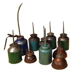 Industrial Oil Cans Original Finish Collection.  Don't know where or how I would display these.  I just like them.