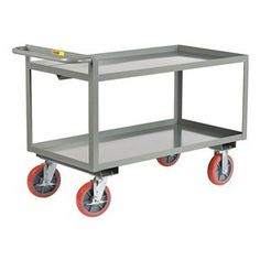 Shelf Truck, Lip Up, 2 Shelf, 48x24, Gray by Little Giant. $545.36. Shelf Truck, Lip Up Shelves, Load Capacity 3600 lb., Welded Steel Construction, Gauge Thickness 12, Powder Coat Finish, Color Gray, Overall Length 54 In., Overall Width 24 In., Overall Height 36 In., Number of Shelves 2, Caster Size 8 In., Caster Type 2 Rigid, 2 Swivel With Brake, Caster Material Polyurethane, Capacity per Shelf 2000 lb., Distance Between Shelves 18 In., Shelf Length 48 In., Sh...