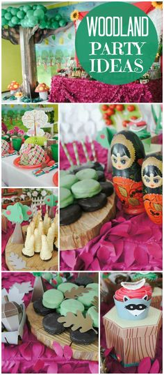 Here's a cute woodland party with Little Red Riding Hood! See more party ideas at CatchMyParty.com!