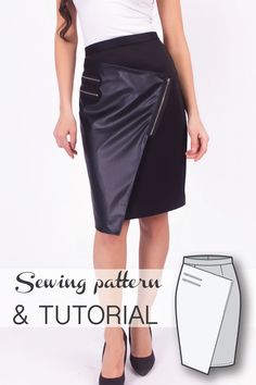 Wrap Asymmetric Pencil Skirt Sewing Pattern and Sewing Tutorial