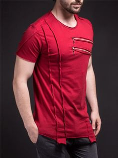 SAW Men Asymmetrical Zippers T-shirt - Deep Red -You can find Zippers and more on our website.SAW Men Asymmetrical Zippers T-shirt - Deep Red - Casual T Shirts, Tee Shirts, Men Casual, Short T Shirt, Destroyed T Shirt, Style Masculin, Designer Suits For Men, Mens Clothing Styles, Swagg