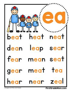 Free printable vowel team charts for first grade! These colorful charts include words for students to practice reading and cover ai, ea, ie, oa, and ue words. Phonics Rules, Phonics Words, Teaching Phonics, Phonics Activities, English Worksheets For Kids, Kids Math Worksheets, 1st Grade Worksheets, Teaching Child To Read, Teaching Reading