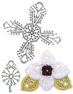 No.35 Bunchberry Blossom Crochet Flower Motifs / 번치베리꽃 코바늘 플라워 모티브도안