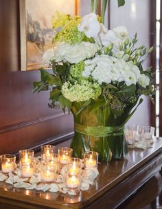 Stunning flowers and pretty candles