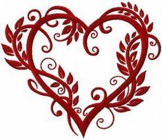 Heart leaves machine embroidery design. Machine embroidery design. www.embroideres.com