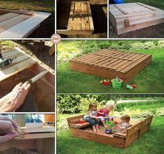 Pallet Furniture for Kids-DIY Sandbox with Cover