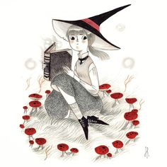 """Childrenbook Art on Instagram: """"@joriouxdraws • • • • • • """"Inktober Day 1: Ring"""" HAPPY INKTOBER! 😆 I don't think that I'll be able to do all of them (or even most of them…"""" Fairy Ring, Halloween Illustration, Halloween Themes, Inktober, Witchcraft, Insta Art, Illustrators, Whimsical, Happy"""