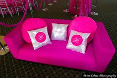 Bat Mitzvah Teen Lounge - Hot Pink & Silver Bling Color Theme {Party Planner: The Event of a Lifetime, Peter Oberc Photography} - mazelmoments.com