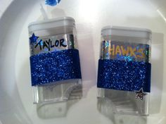 Personalized bobby pin holders I made for the cheer team this year. I used mini red hot candy containers that were 2/$1 at Dollar Store; could use TicTac containers also.
