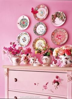 Pink Vintage Wall Plates