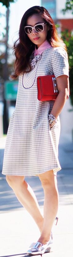 In The Holiday Mood: '60s-inspired Dress + Cheerful Jewelry by Hallie Daily