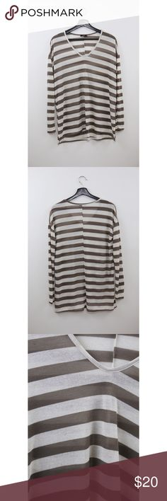 Enti Striped Sweater Size: Small Material: 43% Rayon, 50% Polyester, 7% Spandex Measurements: Width- 23 inches, Length- 26 inches Notes: Sheer, lightweight, loose fit, NWOT Sweaters V-Necks