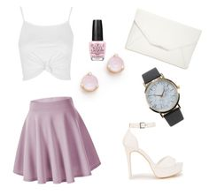 """""""Pink glam"""" by caitlin-christy-meier ❤ liked on Polyvore featuring Kate Spade, Topshop, Nly Shoes, Style & Co., NLY Accessories and OPI"""