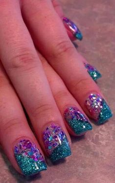 Acrylic nails by jade @ glimmer nail studio, casper, wy nails in 2019 ногти, Stylish Nails, Trendy Nails, Mermaid Nails, Dipped Nails, Chunky Glitter Nails, Nail Designs Spring, Dream Nails, Cute Acrylic Nails, Purple Nails
