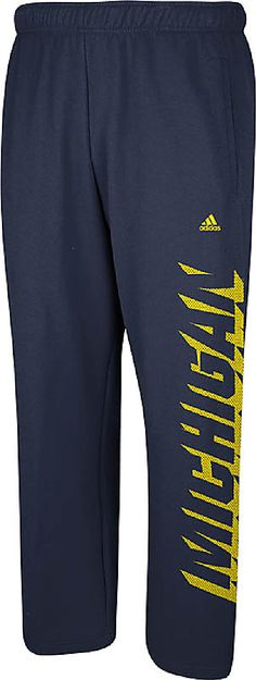 NCAA Michigan Wolverines Blue Shadow Mesh Open Bottom Sweatpants by Adidas $39.95