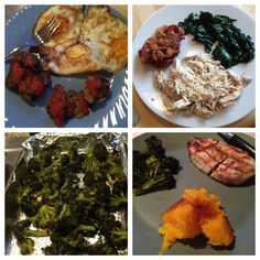 whole30 paleo palelithic primal food eating weight loss clean grain free gluten free no sugar dairy meal plan cooking recipe picture breakfast lunch dinner snacks freid eggs leftover meatballs ground beef costco tomato sauce shredded chicken bacon far lard freidn chicken skins spinach roasted broccolli garlic coconut oil bar-b-que BBQ grilled pork roasted butternut squash cinnamon
