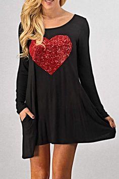 64e4e2d0dec5 Adorable black tunic with red sewn on sequin design. Mercy Renews Daily · Plus  Size Fashion ...