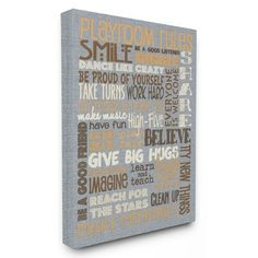 "Viv + Rae 'Playroom Rules Typography Denim Feel' Textual Art Size: 30"" H x 24"" W x 1.5"" D, Format: Canvas"