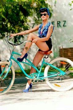 Cycling Summer Pin Up! :: Rockabilly Pin Up:: Modern Pin Up Girl:: Cycling
