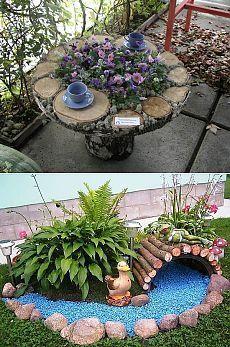 Rock Garden Design, Garden Design Plans, Flower Garden Design, Flowers Garden, Garden Yard Ideas, Garden Projects, Garden Art, Tire Garden, Diy Garden Fountains