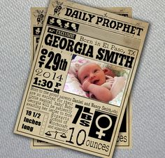 Custom Harry Potter Birth Announcement //The Daily Prophet// Digital File You can find this birth announcement at my etsy shop, BBannabelle! I'll customize it however you'd like to your baby!