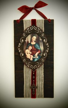Old World Rustic Wall Art Jesus and Mary Catholic Decor