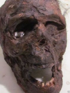 Realistic Skull Mummified Corpse Head Horror Movie, Sideshow Gaff, Horror prop