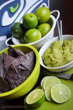 Seahawks Party Food - Homemade guacamole with blue tortilla chips - Queen Bee Coupons & Savings