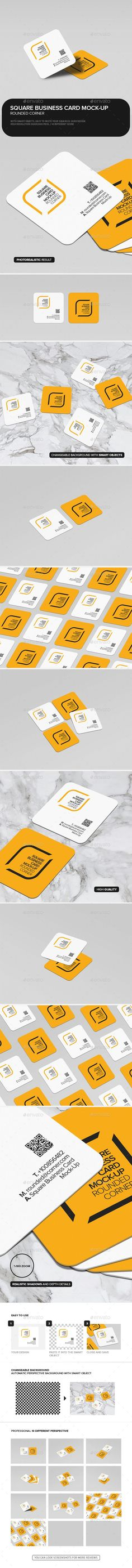 Square Business Card Mock-Up Rounded Corner. Download here: https://graphicriver.net/item/square-business-card-mockup-rounded-corner/17328775?ref=ksioks