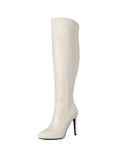 Beige Cow Leather Pointed Toe Stiletto Long Boots I found this beautiful item on VIPme.com.Check it out!