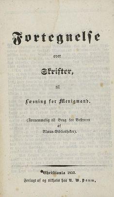 Fortegnelse over Skrifter for Menigmand