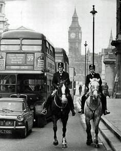 Horses of London. This is Whitehall, London in the early and two of the first Women Police Constables accepted into the mounted branch ride out from their base at Great Scotland Yard London Police, London Bus, London History, British History, Vintage London, Old London, Old Pictures, Old Photos, London Photos