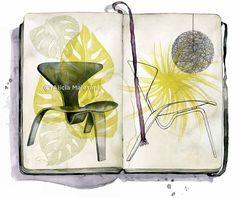 Alicia Malesani  #aliciamalesani #illustration #journal #design  #chair #green #leaves #watercolor #book #trafficnyc