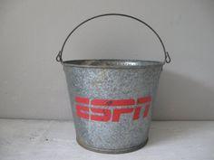 Vintage ESPN Pail by southernhomevintage on Etsy, $42.00