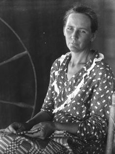 Delia Justice, great weaver, spinner from Gainesville. Photo by Doris Ullman 30's?