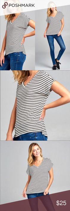 Black & White Striped Dolman Top Classic Dolman Short Sleeve V-Neck Striped Rayon Spandex Top.  Fabric: 95% Rayon 5% Spandex Tops Blouses