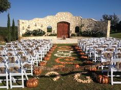 Rancho Mirando fall ceremony decor with pumpkins.