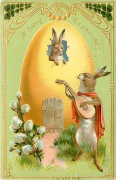 A HAPPY EASTERTIDE postcard, 1907 ~ Romeo Rabbit plays mandolin to Juliet Rabbit, looking out of her egg-house window