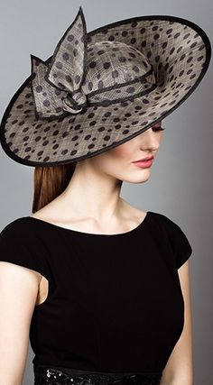 Rachel Trevor Morgan #millinery #judithm #hats We carry this sinamay pattern: https://www.judithm.com//products/black-small-and-big-dot-sinamay
