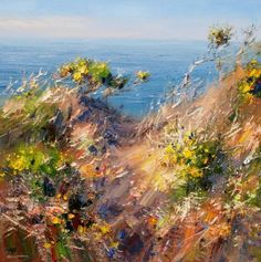 Afternoon Sunlight, Cornish Cliffs by British Contemporary Artist Rex PRESTON