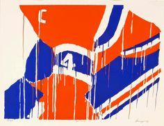 Serge Lemoyne et la Bleu, Blanc et Rouge Painting People, Artist Painting, Ken Dryden, Art Actuel, Art Ancien, Canadian Painters, Montreal Canadiens, Hockey Teams, Sports Art