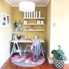 Today I've teamed up with The Reject Shop to share with you all how easy it is to do a quick office makeover for Mum this Mothers Day. Office Makeover, Home Office Space, Space Crafts, Corner Desk, Bookcase, Shelves, Studio, Bed, Furniture