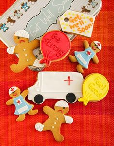 Buy or Send a Get Well biscuit tin containing delightfully iced, ginger infused cookies in the shapes of nurses, doctors and patients to get the recipient feeling tons better in South Africa. Cupcakes Delivered, Eyfs, Get Well, Nurses, Rainbows, Doctors, South Africa, Cupcake Cakes, Biscuits