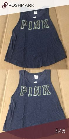 2ea17fedf971e9 VS PInk Blue Muscle Tank W Gold Sequins S Gold sequins logo bling on blue