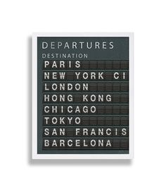 Travel Art Print - City Destination Board (CUSTOMIZE CITIES or ANY OTHER TEXT FREE OF CHARGE!)  Take a look at more art prints in our home decor