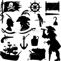Pirate Silhouettes Royalty Free Stock Vector Art Illustration