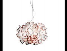 Nella Vetrina Slamp Clizia Modern Italian Hanging Light in Squared Transparent Orange Glass.